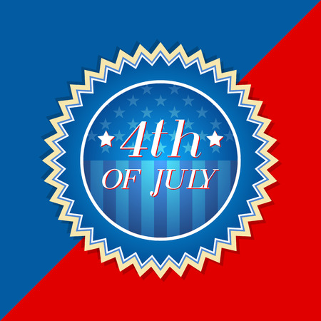 independency: 4th of July with american flag - retro style blue red label with text and stars, usa independence concept
