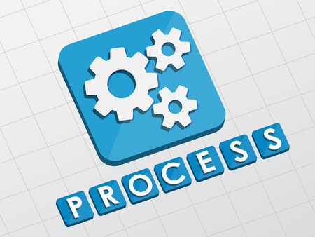 fulfil: process and gear wheels symbol - text with sign in flat design web icon, business workflow concept