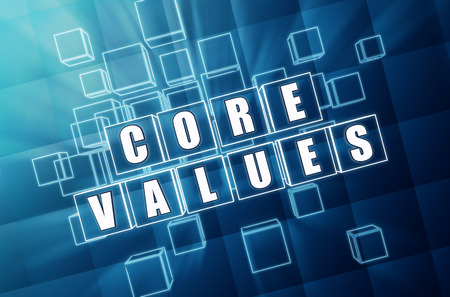 core values - text in 3d blue glass cubes with white letters, business cultural riches concept photo