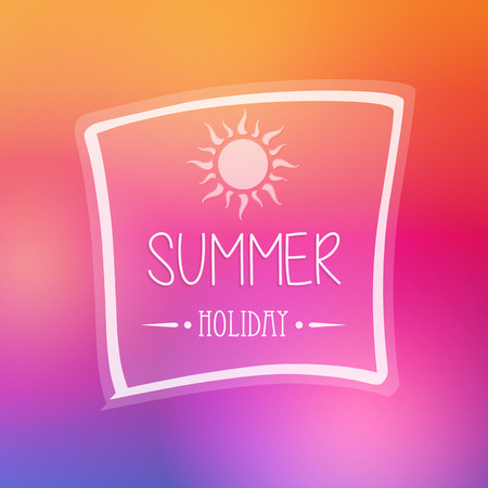 text summer holiday with white sun in frame over orange pink background, flat design poster