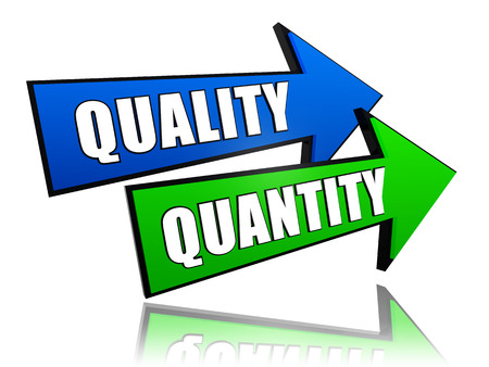 quantities: quality and quantity - text in 3d arrows, business concept words