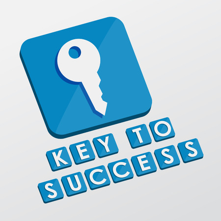 key to success and key sign - white text with symbol in blue flat design blocks, business creative concept photo