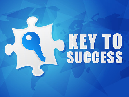 key to success and puzzle piece with key sign - white text with symbol over blue world map background, flat design, business creative concept photo