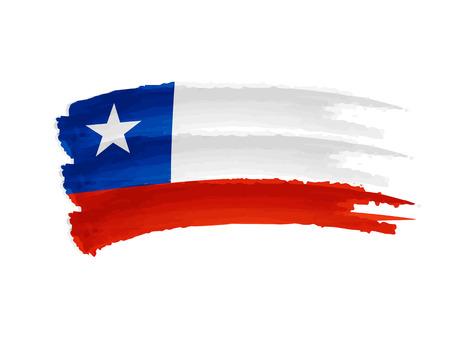 チリの旗 - 孤立した手描きイラスト バナー
