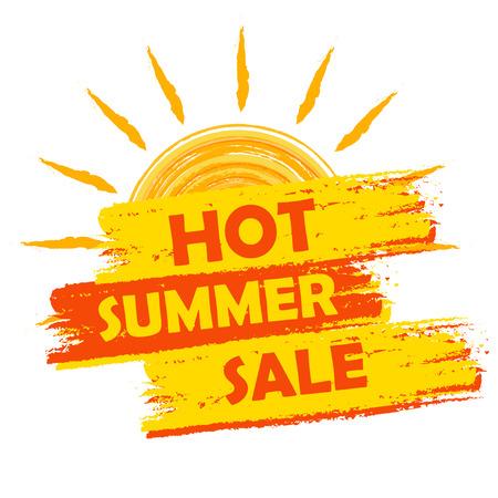 calor: bandera de la venta caliente del verano - texto en la etiqueta dibujada amarillo y naranja con el s�mbolo del sol, concepto de compras de temporada negocio Foto de archivo