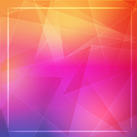 abstract orange pink background with shining white lines, triangles and frame photo