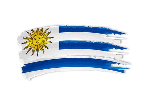 bandera de uruguay: Bandera uruguaya - aislados dibujados a mano ilustración bandera Foto de archivo
