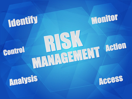 identify: risk management - identify, control, analysis, monitor, action, access - business organization concept words in hexagons over blue background, flat design Stock Photo