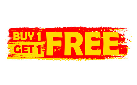buy one get one free - text in yellow and red drawn label, flat design, business shopping concept