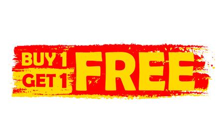 compre uno y llévese otro gratis - texto en la etiqueta amarilla y roja dibujada, diseño plano, el concepto de compra de negocios