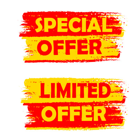 abatement: special and limited offer banners - text in yellow and red drawn labels, business shopping concept