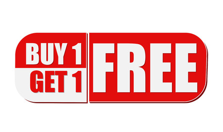 buy one get one free - text in white and red flat design label, business shopping concept Banque d'images