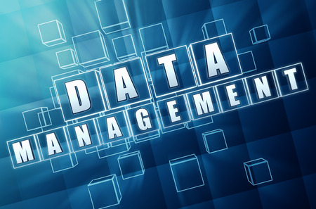 data entry: data management - text in 3d blue glass cubes with white letters, business organizing concept words Stock Photo