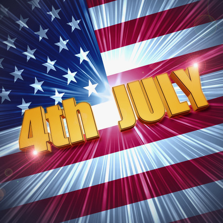 4th of July - 3d golden text with shining american flag, usa independence holiday concept photo