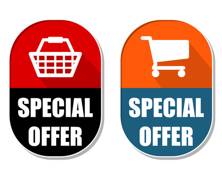 special offer with shopping basket and cart symbols, two elliptic flat design labels with icons, business commerce concept photo