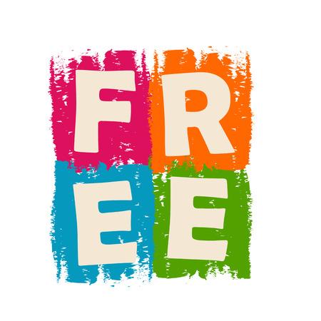 shareware: free drawn design label - text in green, blue, orange and purple banner, business present concept
