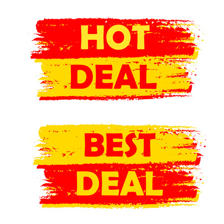 deal in: hot and best deal banners - text in yellow and red drawn labels, business commerce shopping concept Stock Photo