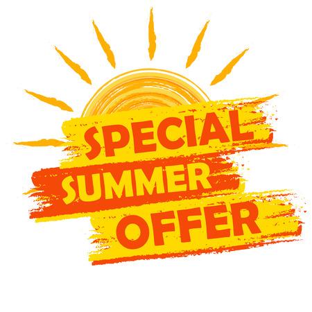 Offre spéciale été bannière - texte dans l'étiquette dessinée jaune et orange avec le symbole de soleil, affaires concept commercial de saison