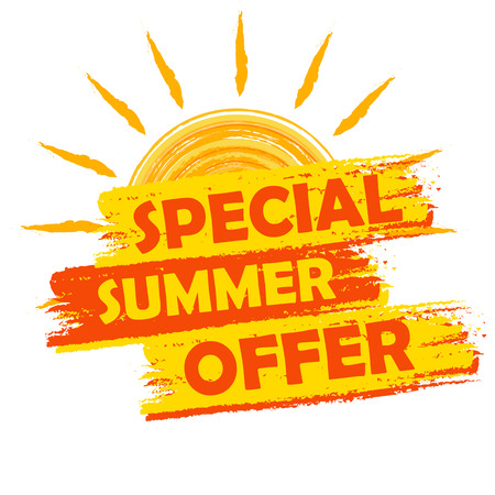 summer: special summer offer banner - text in yellow and orange drawn label with sun symbol, business seasonal shopping concept
