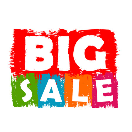 big sale: big sale drawn label - text in red, green, blue, orange and purple banner, business shopping concept Stock Photo