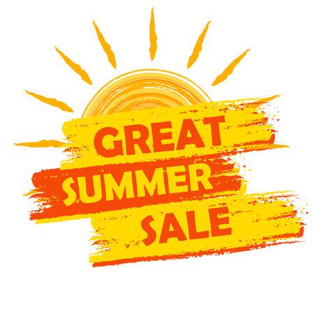 vente d'été grande bannière - texte dans l'étiquette dessinée jaune et orange avec le symbole du soleil, concept commercial commercial de saison