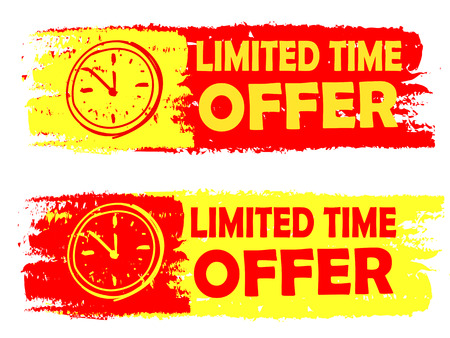 limited time offer with clock signs banners - text in yellow and red drawn labels with symbols, business commerce shopping concept