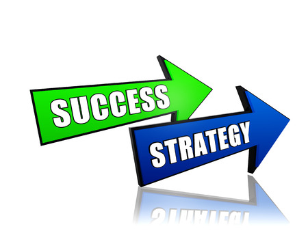 fulfil: success and strategy - text in 3d arrows, business development concept words