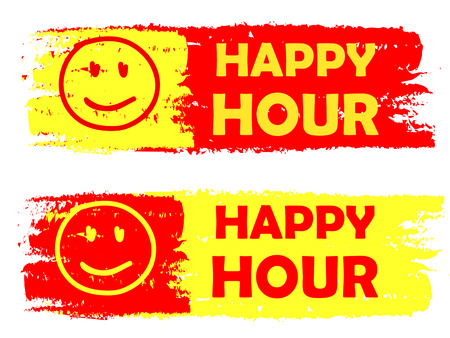 happy hour with smile signs banners - text in yellow and red drawn labels with symbols, business commerce shopping concept photo