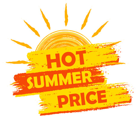 sellout: hot summer price banner - text in yellow and orange drawn label with sun symbol, business seasonal shopping concept