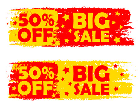 selling off: 50 percentages big sale - text in yellow and red drawn labels with stars, business shopping concept
