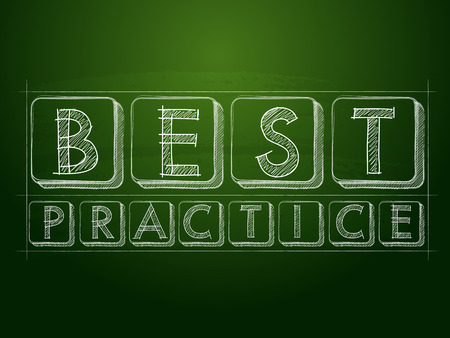 realization: best practice - white chalk text over green blackboard, business professional service concept words