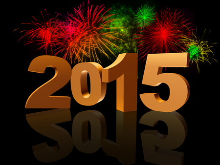 turns of the year: golden new year 2015 with reflection and colorful fireworks Stock Photo