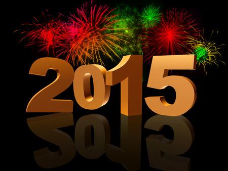 turns of the year: oro nuevo a�o 2015 con la reflexi�n y coloridos fuegos artificiales