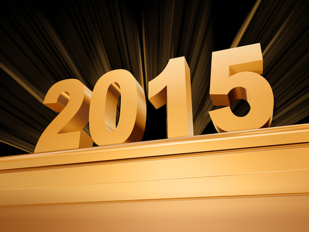 upcoming: 3d golden new year 2015 with rays over base