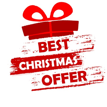 sellout: best christmas offer banner - text in red and white drawn label with gift symbol, business seasonal shopping concept