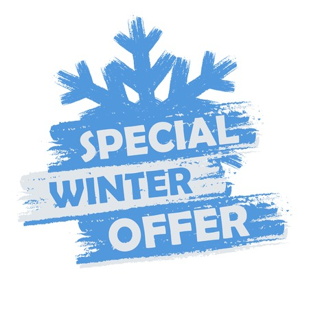 winter holidays: special winter  offer banner - text in blue and white drawn label with snowflake symbol, business seasonal shopping concept
