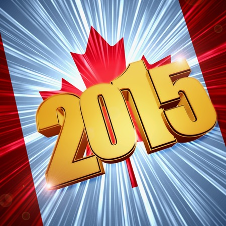 twelfth night: new year 2015 - 3d golden figures with rays and shining Canadian flag