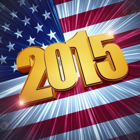 new year 2015 - 3d golden figures with rays and shining USA flag photo