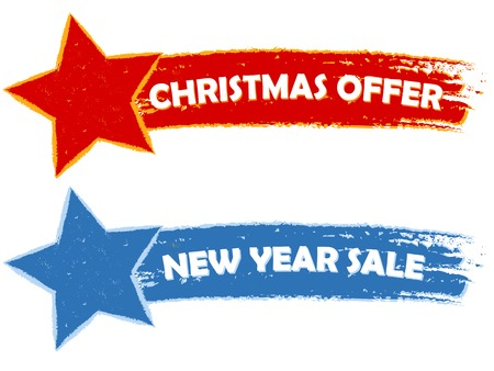 sellout: Christmas offer, new year sale - two drawn banners