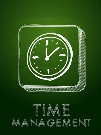 moneymaker: time  management  with clock - chalk text and icon over blackboard