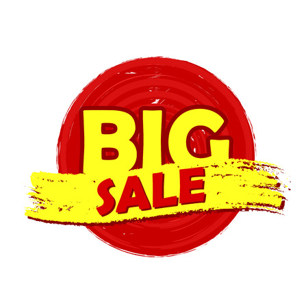 selling off: big sale drawn label - text in red and yellow round banner, business shopping concept Stock Photo