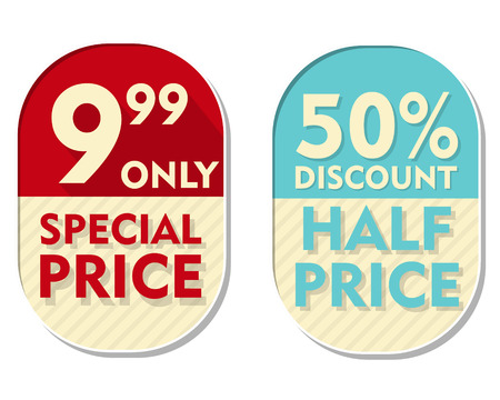 99: 9,99 only, 50 percent discount, special and half price text banners, two elliptic flat design labels, business shopping concept