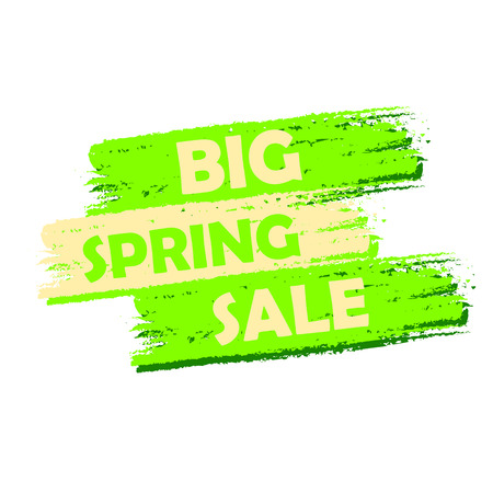 selling off: big spring sale banner - text in green drawn label, business shopping seasonal concept
