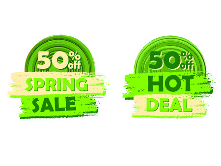 percentages: 50 percentages off spring sale and hot deal banners - text in green circular drawn labels, business seasonal shopping concept