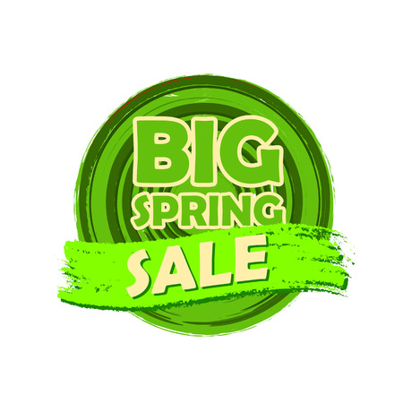 selling off: big spring sale banner - text in green circular drawn label, business seasonal shopping concept
