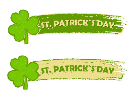 three leaved: happy St. Patricks day - text in two green drawn banners with three leaved shamrock symbols, holiday seasonal concept