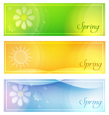 oxeye: text spring with sun and flowers in banners with frame over green yellow and blue backgrounds, seasonal flat design labels Stock Photo