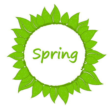 circlet: spring round wreath from green leaves like flower with text