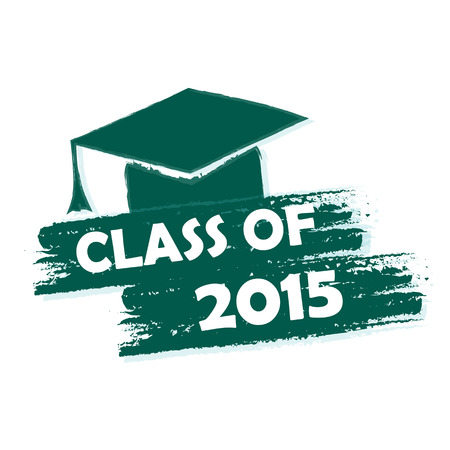trencher: class of 2015 text with graduate cap with tassel - mortarboard, graduate education concept, drawn Stock Photo
