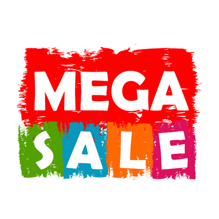 selling off: mega sale drawn label - text in red, green, blue, orange and purple banner, business shopping concept